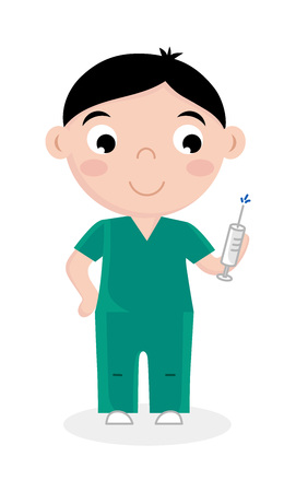 Little boy in doctor uniform with syringe. Professional occupation concept, happy childhood, emotion kid cartoon character isolated on white background vector illustration.