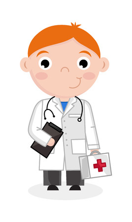 Little boy in doctor uniform with stethoscope. Professional occupation concept, happy childhood, emotion kid cartoon character isolated on white background vector illustration.