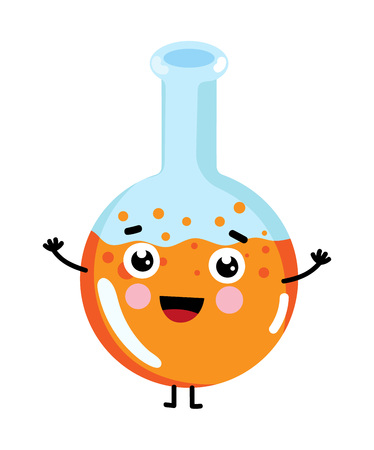 Test tube cute cartoon character. Medical treatment icon, funny medicine equipment isolated on white background vector illustration.