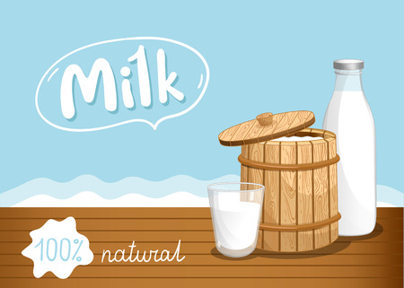 Farmers market banner with dairy products. Natural organic dairy product, fresh and healthy farm food concept. Layout for milk retail advertising or product presentation vector illustration.