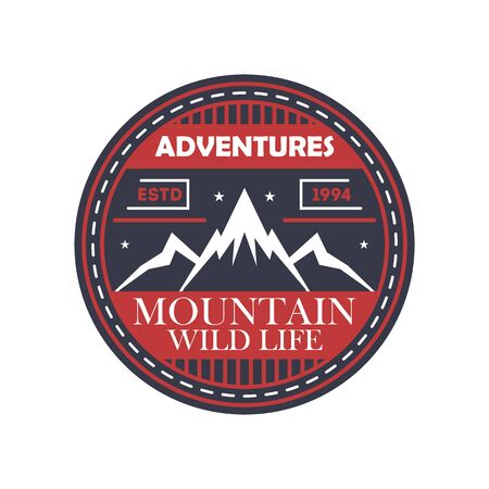 mountaineering: Mountaineering adventures vintage isolated badge. Outdoor explorer sign, touristic camping label, nature expedition vector illustration Illustration