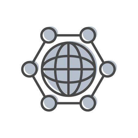 mapa de procesos: Gestión de procesos icono lineal con signo globo. Datos de la tecnología informática, análisis de negocios pictograma ilustración vectorial aislados. Vectores