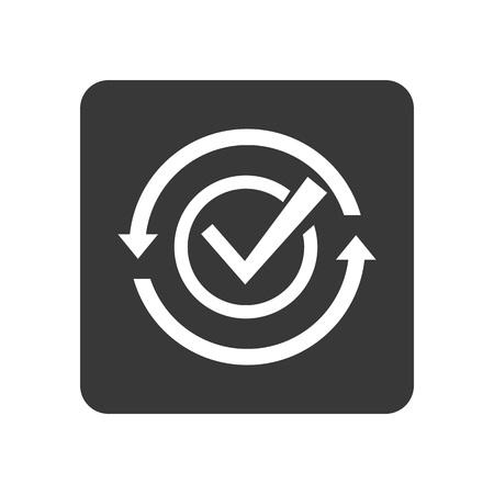 Kwaliteitscontrole pictogram met het controleren van teken. Kwaliteitsbewakingspictogram geïsoleerde vectorillustratie.