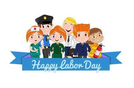 消防士、スチュワーデス、看護婦、警官の衣装をプロの子供たちと幸せな労働者の日カード。かわいい祝お祝いカード。人異なる職業のベクトル図