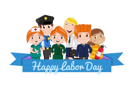 Happy labor day card with children in professional costumes of firefighter, stewardess, nurse, policeman. Cute national holiday congratulation card. People different occupation vector illustration Ilustrace