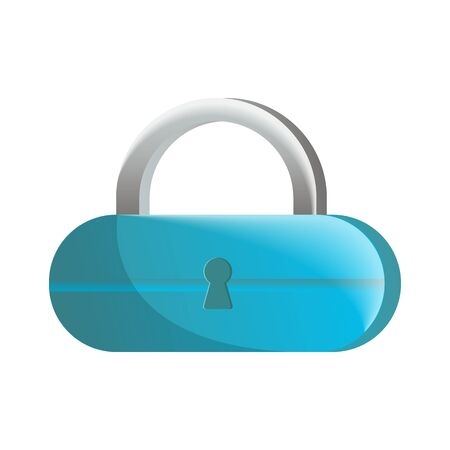 Closed blue lock icon in flat design. Security protection, key safety element, blocking sign for mobile application isolated on white background vector illustration. Illustration