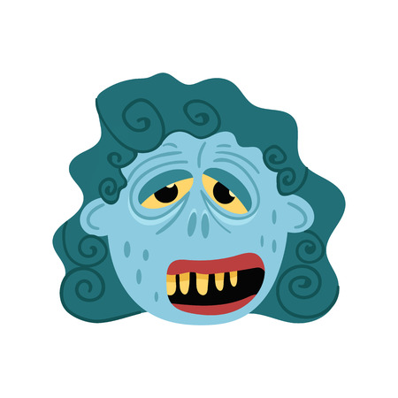Female zombie monster icon in cartoon style. Halloween undead sign, horror corpse head avatar, zombie character vector illustration