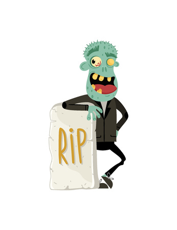 Smiling zombie monster near rip gravestone in cartoon style. Halloween undead sign, horror undead personage, walking dead man vector illustration
