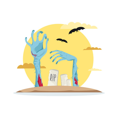 Zombies hands in graveyard icon in cartoon style. Zombie hand sticking out from ground, horror monster, zombie apocalypse concept, walking dead vector illustration.