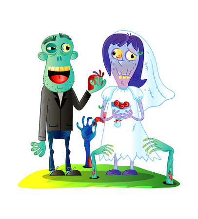 Zombies wedding with funny married zombie couple in cartoon style. Undead monster personage, cute zombie love concept vector illustration.