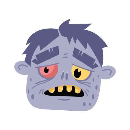 Monster head avatar in cartoon style. Halloween undead sign, scary dead man icon, zombie character vector illustration Illustration