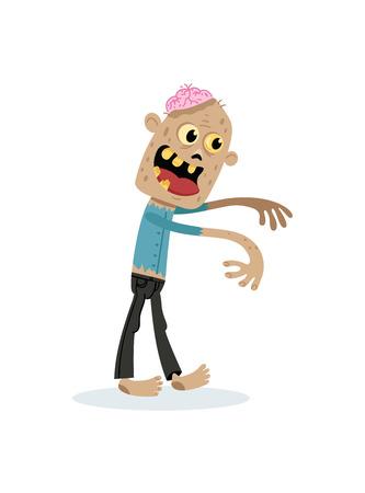 Walking dead character in cartoon style. Halloween zombie horror fantasy element, undead monster personage, zombie apocalypse vector illustration. Illustration
