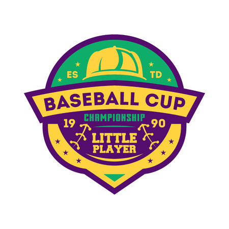 Baseball kids championship vintage isolated label, Sport competition symbol, athletic camp sign, team game illustration.