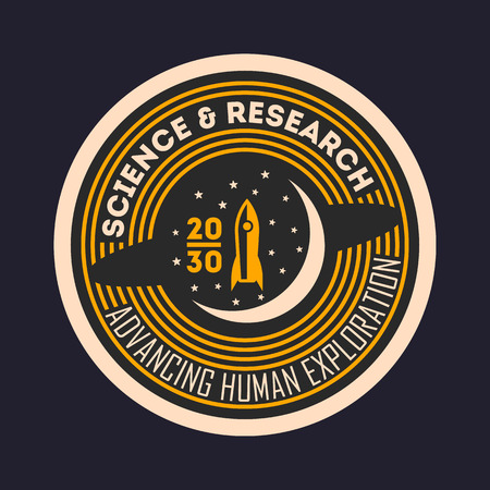 Space mission vintage isolated label. Scientific odyssey symbol, modern spacecraft flying, planet colonization vector illustration. Vector Illustration