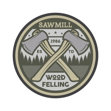 Wood felling vintage isolated label.  イラスト・ベクター素材