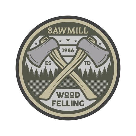Wood felling vintage isolated label. Illustration