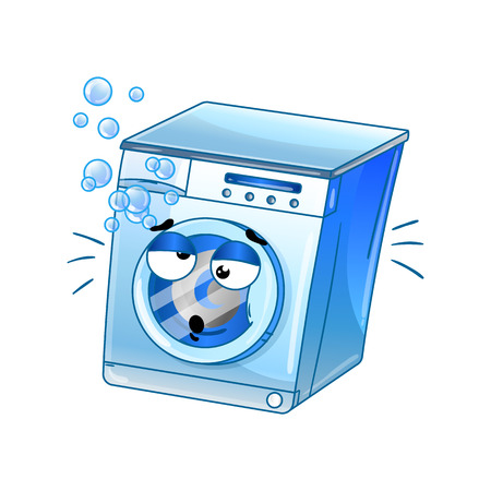 Funny automatic washer isolated cartoon character. Household appliance with emotional face, home electronic device comic mascot vector illustration. Ilustração Vetorial