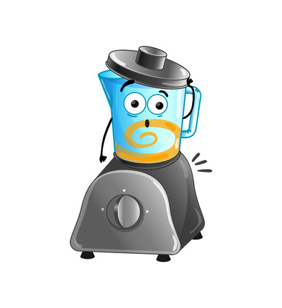 Funny kitchen blender isolated cartoon character vector illustration. Illustration