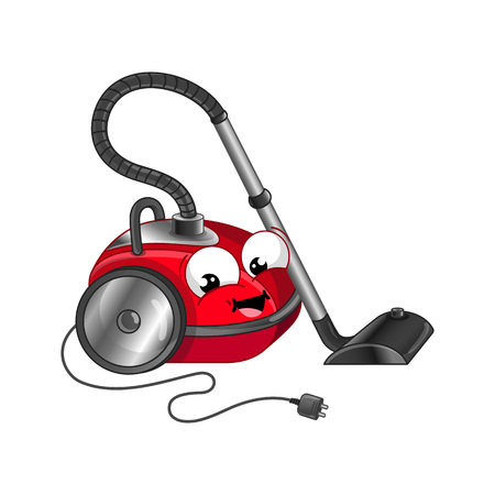Funny vacuum cleaner isolated cartoon character vector illustration.