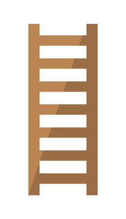 Wooden staircase icon in flat style. Joinery workshop product and equipment, sawmill element, woodwork tool vector illustration. Ilustracja