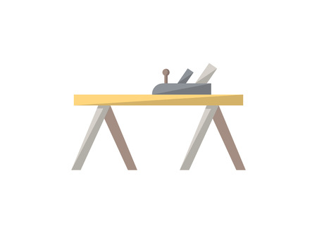Carpenters plane icon in flat style. Joinery workshop product and equipment, sawmill element, woodwork tool vector illustration.