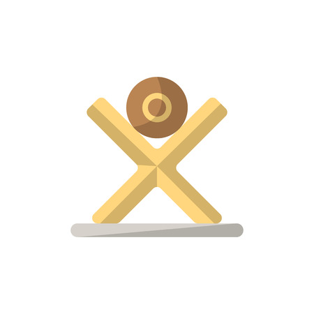 Tree log icon in flat style. Joinery workshop product and equipment, sawmill element, woodwork tool vector illustration. Illustration