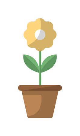 Flower in pot isolated icon in flat style. Bedroom furniture element, house interior decoration vector illustration. Illustration