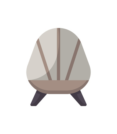 Retro armchair isolated icon in flat style. Bedroom furniture element, house interior decoration vector illustration.