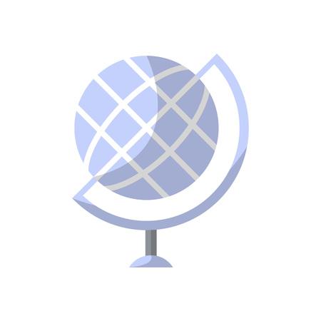 Globe isolated icon in flat style. School classroom furniture element, house interior decoration vector illustration. Illustration