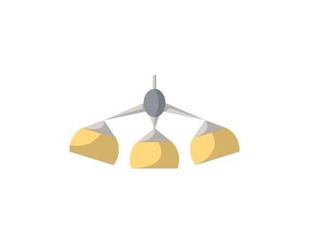 Hanging lamp isolated icon in flat style. Living room furniture element, house interior decoration vector illustration.
