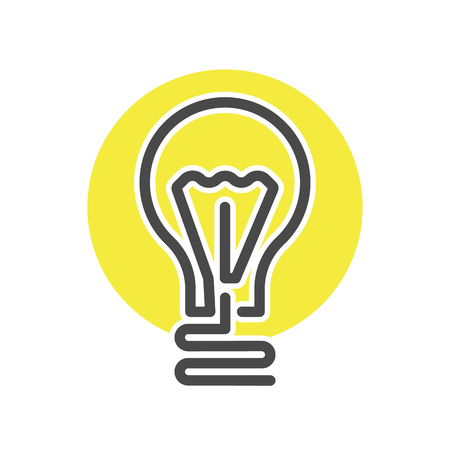 Light bulb doodle in thin line style. Electrical equipment, simple lamp pictogram isolated on white background vector illustration.