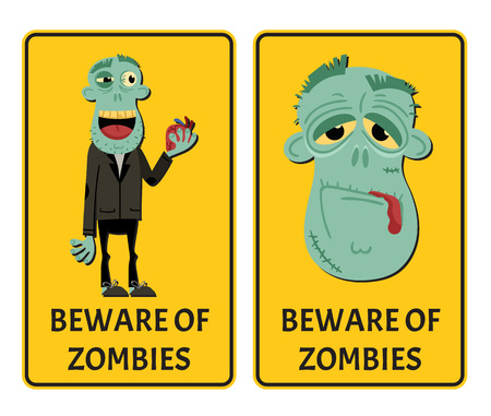 Beware of zombies label set with happy monster. Halloween party attribute with funny undead man, festive horror event stickers. Symbol collection with cute walking dead vector illustration.
