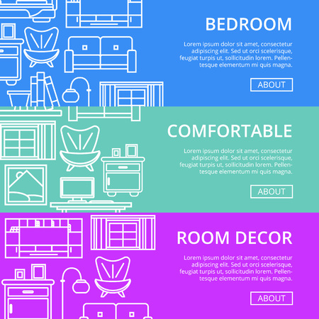 residential homes: Bedroom modern decor linear poster set. Home furniture renovation concept, apartment decoration.