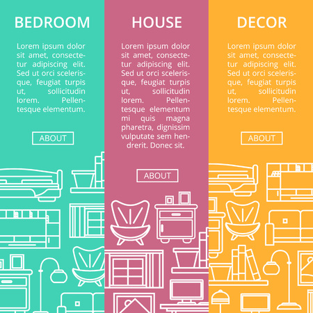 residential homes: Bedroom furniture renovation flyers set in linear style. Modern house interior, apartment decoration.