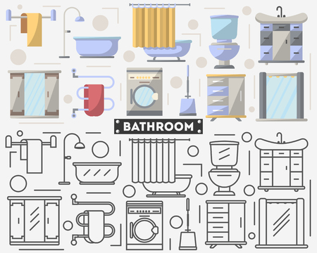 residential homes: Bathroom furniture set in flat style.