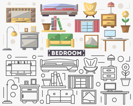 residential homes: Bedroom furniture set in flat style.