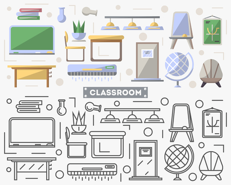 residential homes: School classroom furniture set in flat style.