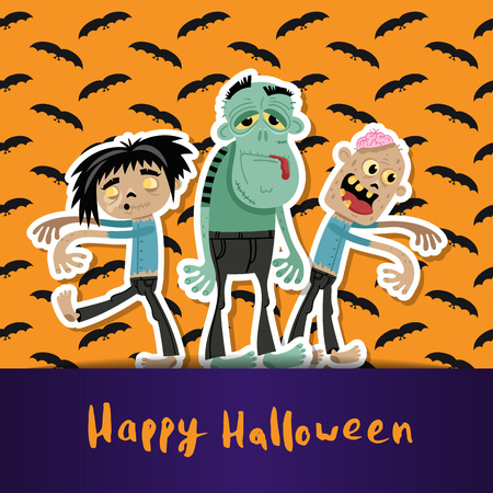 Happy Halloween poster with cute zombies. Illustration