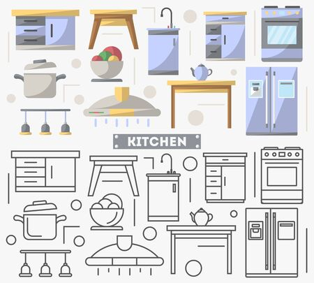 residential homes: Kitchen furniture set in flat style. Stove, refrigerator, cooker hood, table, washbasin vector illustration. Symbol collection for architecture design studio, house interior icons, creative decoration Illustration