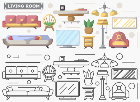 residential homes: Living room furniture set in flat style. Sofa, armchair, TV, bedside table, sconce vector illustration. Symbol collection for architecture design studio, house interior icons, creative decoration Illustration