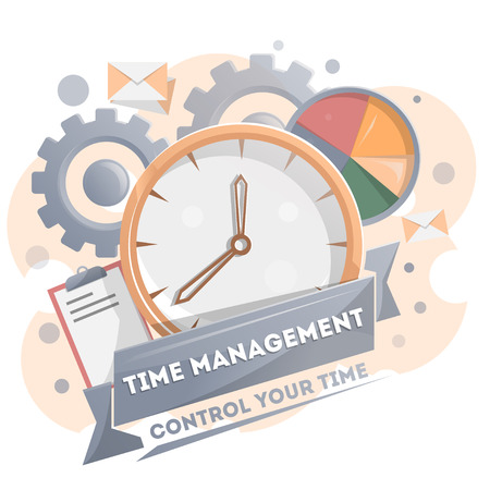 Time management poster with clock. Time planning and control concept for effiecient succesful and profitable business. Effective working time organization vector illustration in flat style. Çizim