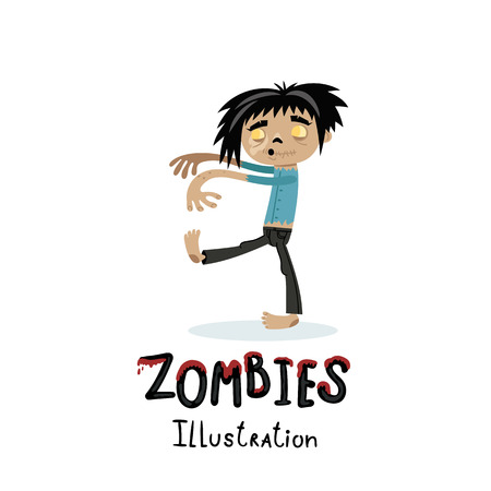 Cute walking dead man character in cartoon style. Halloween zombie horror fantasy poster, undead monster personage, zombie apocalypse concept isolated on white background vector illustration. Illustration