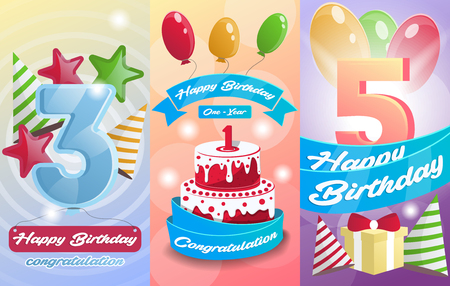 kids birthday party: Happy birthday kids postcard set. Anniversary congratulation, greeting cards with birthday cake, air balloons and gift box. Invitation templates for children party, celebration vector illustration Illustration