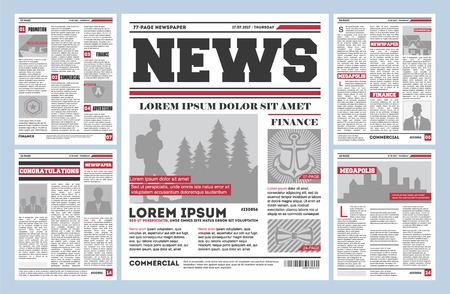 Vintage newspaper journal template. Typography design with columns, daily news page layout, info press concept. Paper tabloid on newsprint, reportage information vector illustration.