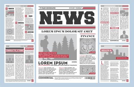 Vintage krant tijdschrift sjabloon. Typografieontwerp met kolommen, dagelijkse lay-out van de nieuwspagina, concept van de pers van de info. Papieren tabloid op krantenpapier, reportage informatie vectorillustratie.