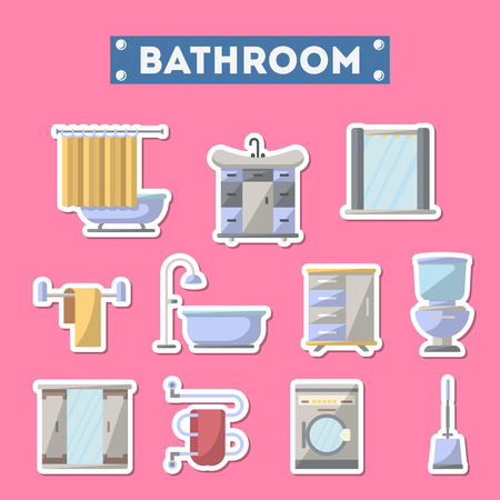 residential homes: Bathroom furniture icon set. Home interior design, modern apartment decoration isolated elements.