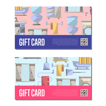 residential homes: Gift voucher for bathroom furniture. Home interior design offer certificate, modern apartment decoration discount card.