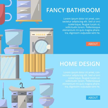residential homes: Fancy bathroom poster set in flat style. Home interior design, modern apartment decoration banners. Washing machine, shower cabin, toilet, table, bathtub, towel dryer, washbasin vector illustration. Illustration