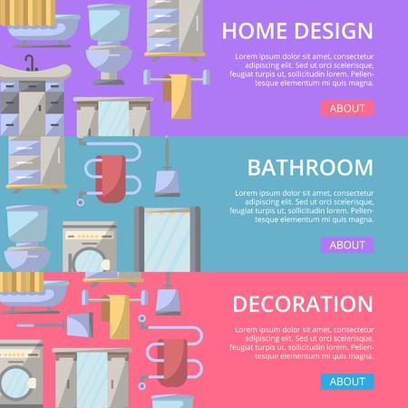 residential homes: Bathroom decoration poster set in flat style. Home interior design, modern apartment decoration banners. Washing machine, shower cabin, toilet, bathtub, towel dryer, washbasin vector illustration. Illustration