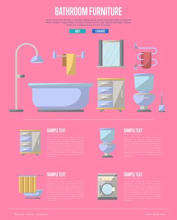 residential homes: Bathroom furniture poster with washing machine, shower cabin, toilet, table, bathtub, towel dryer, washbasin elements. Home interior design, modern apartment decoration vector illustration.